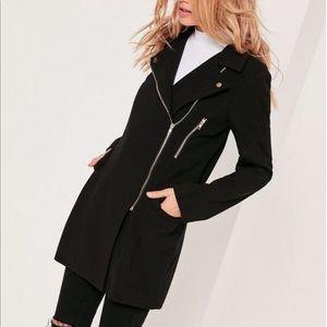 Tall Wool Black Biker Coat